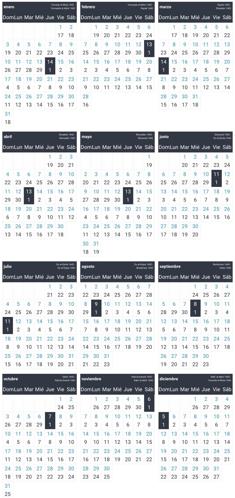 Calendario Islámico 2021 (1442-1443)