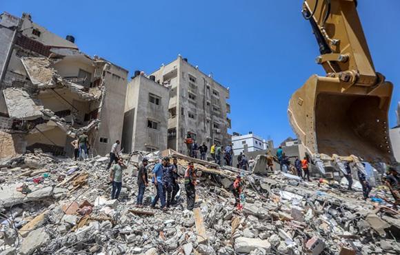 Edificio derrumbado en Gaza